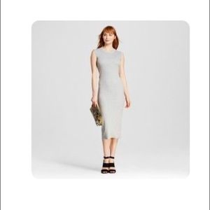 Casual Ribbed Gray Midi Dress